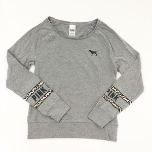 VS Pink Raglan Long Sleeve T-Shirt Grey Cheetah XS